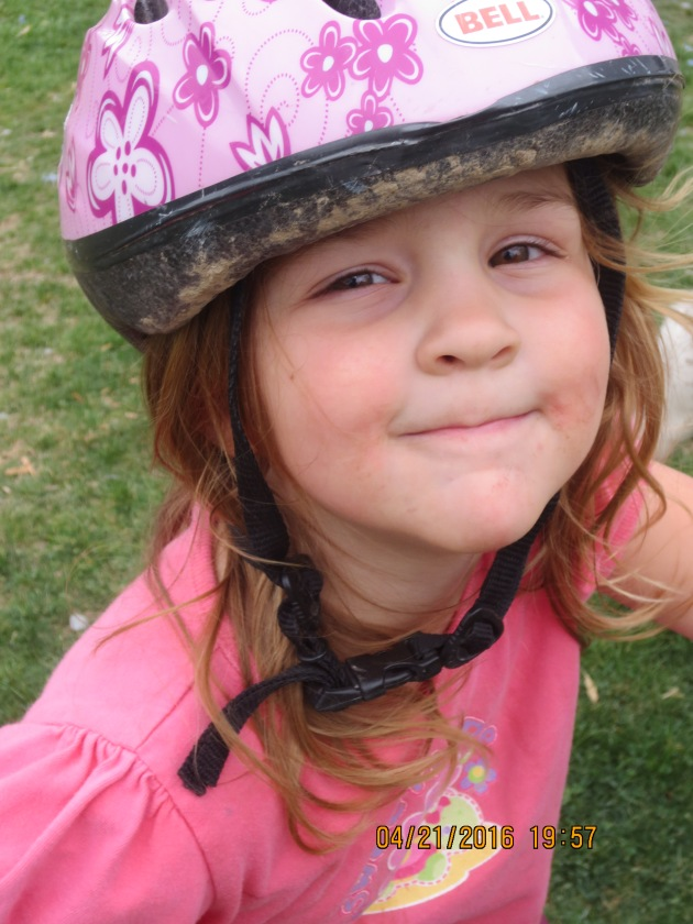 Addy in bike helmet